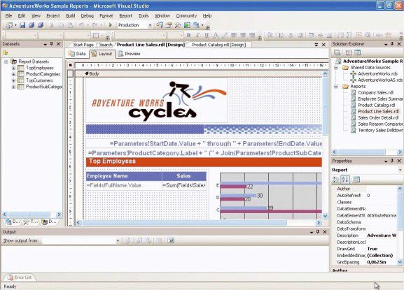 Microsofts Report Designer ist Business Objects Crystal Reports nachempfunden.