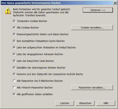 Bei Opera heute schon möglich: Alle Internet-Spuren mit einem Klick beseitigen.