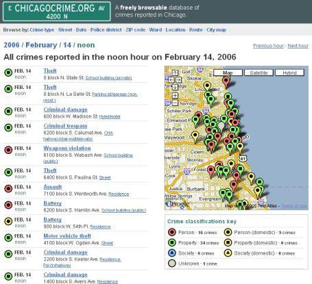 Chicagocrime.org ist bei der Suche nach einer sicheren Wohngegend ganz hilfreich.