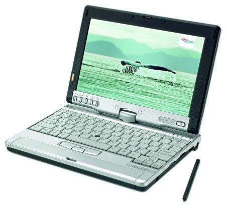 Klein, leicht, stark: Der P1510 von Fujitsu-Siemens ist das erste Subnotebook, das sich auch als Tablet-PC verwenden lässt.