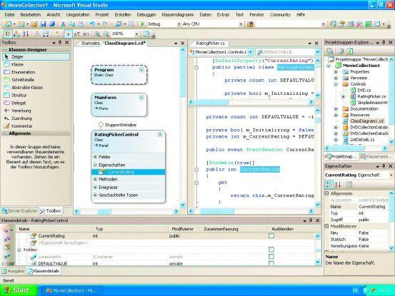 Der Klassendesigner hält Änderungen im Diagramm und Quelltext synchron.