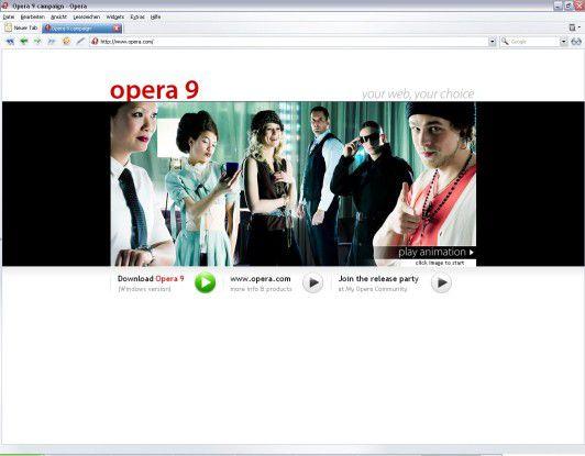 Anders als manch frühere Version kommt Opera 9 mit einer aufgeräumten Oberfläche daher.
