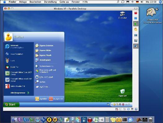 """Fensterln: Windows XP läuft dank Parallels Desktop gleichzeitig mit """"Gastgeber"""" Mac OS X."""