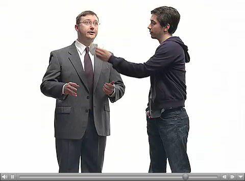 """""""Gesundheit"""" wünscht der Mac-Nutzer in Apples Werbung dem virenverseuchten PC-Kollegen."""