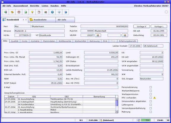 Das Feature Kundenbild bietet dem Außendienstmitarbeiter gebündelte Informationen zu einem Kunden (Sammelbesteller).
