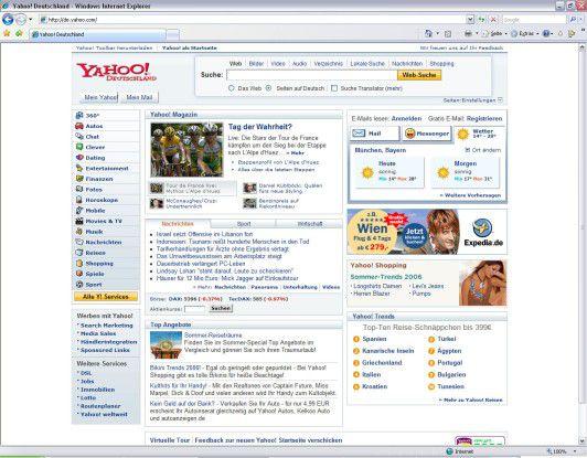 AJAX ermöglicht auf der neuen Yahoo-Seite dynamische Änderungen.
