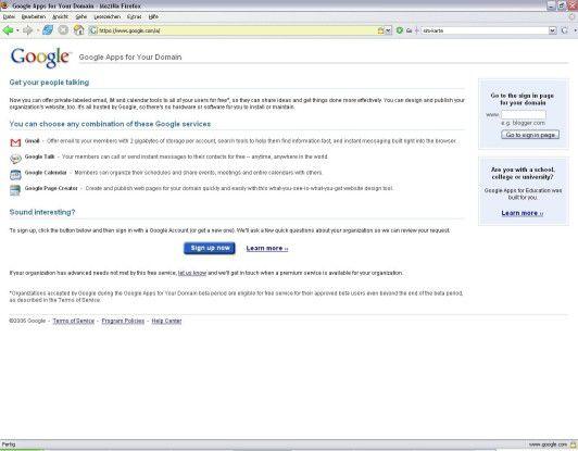 Seit heute können sich interessierte SMBs und Bildungseinrichtungen für Google Apps for Your Domain anmelden.
