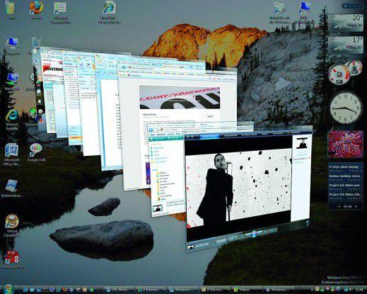 Stechen als erstes ins Auge - die neuen 3D-Fenster auf dem Vista-Desktop.