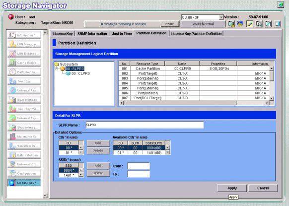 Der Systemverwalter kann ein NSC55-System in mehrere Partitionen aufteilen und diesen die gewünschte Cache-Größe und die Host-Ports fest zuweisen.