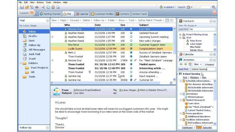 """Ein frühes Design-Muster des kommenden Lotus Notes (Codename """"Hannover"""") zeigt, wie E-Mail um Spezialfunktionen wie Activity Management, Buddy Listen von Sametime und weitere Plug-ins ergänzt werden kann."""