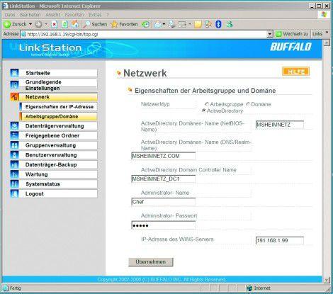 Nicht selbstverständlich in dieser Preisklasse: Die Benutzer-Authentifizierung kann über das Active Directory erfolgen.