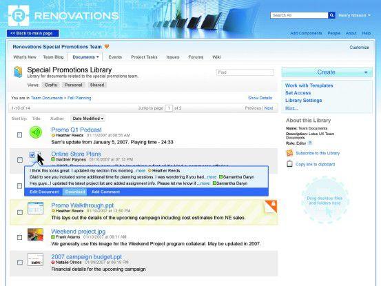 Quickr ist die Web-2.0-Fortsetzung von Lotus Quickplace und enthält DMS-Funktionen aus dem Portal-Server.