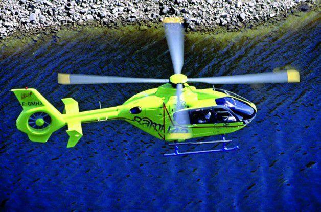 """Der EC-135 mit seinem markanten Stabilisationsrad am Heck ist der """"Renner"""" bei Eurocopter."""
