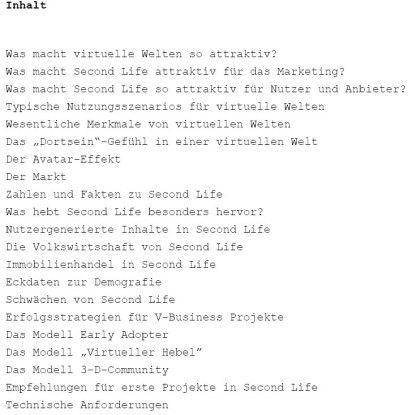 Auszug aus dem Inhalt des Second-Life-Whitepaper