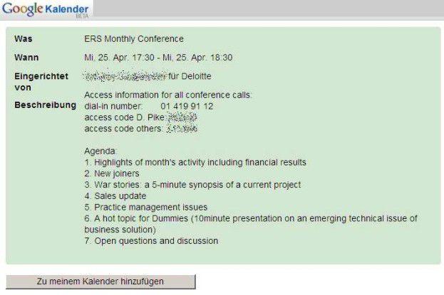 Zugangsdaten zu Telefonkonferenzen finden sich sehr häufig in Googles Kalender. Sie sind ein gefundenes Fressen für externe Mitlauscher.