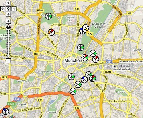 In München leiden viele Menschen an Husten (grüne Markierungen).