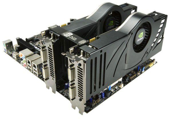 Da schlägt des Gamers Herz höher: Zwei GeForce 8800 Ultra, zusammengeschaltet mit SLI.