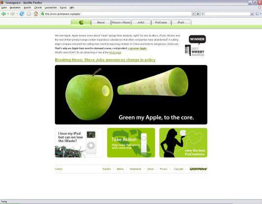 Für die gelungene Apple-Kampagne von Greenpeace gab es sogar einen Webby Award.