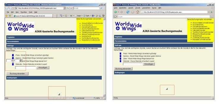 Die Darstellungsprobleme von Microsofts Ajax Control Toolkit sind im Internet Explorer noch größer als im Firefox.