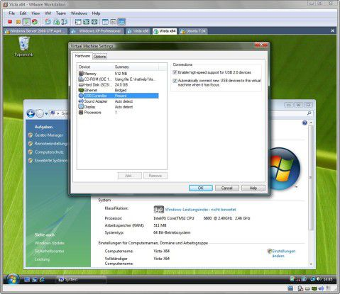 VMware Workstation 6.0 unterstützt USB 2.0 und arbeitet besser mit Windows Vista zusammen.
