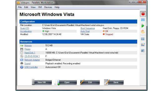 Flotte Desktop-Virtualisierung: Parallels Workstation 2.2 hat sich offen-sichtlich Vmware zum Vorbild genommen, ist aber beim Funktionsumfang und Preis bescheidener.