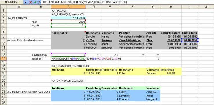 Excel als Editor für xAlerator: Hier das Beispiel einer Mitarbeitertabelle, aus der die Jubilare eines Monats gefiltert werden sollen.