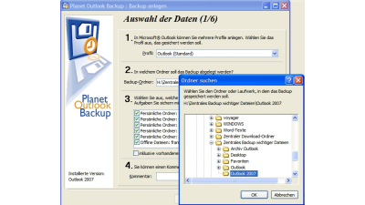 Planet Outlook Backup sichert E-Mails, Termine und Einstellungen