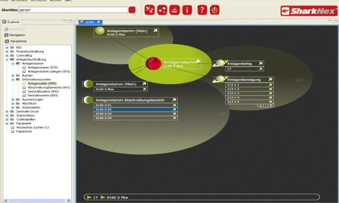 Die grafische Oberfläche stellt Zusammenhänge beispielsweise zwischen Anlagegütern und dazugehörigen Berichten dar.