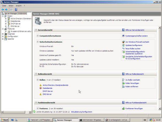 Der Server-Manager ist zentrale Anlaufstelle für die Konfiguration und Verwaltung von Windows Server 2008.