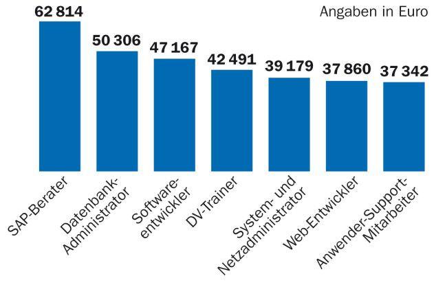 SAP-Berater freuen sich über die höchsten IT-Gehälter.