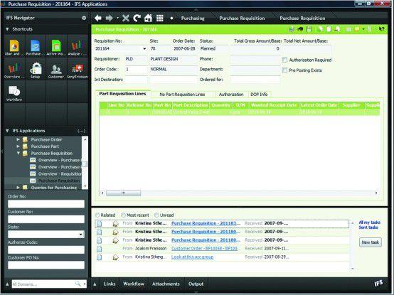Aurora (Morgenröte) soll Anwendern die Arbeit mit der IFS-Software erleichtern. Sie können laut Hersteller beliebig innerhalb der Funktionen navigieren, nach Datensätzen suchen und auf Office-Dateien zugreifen.