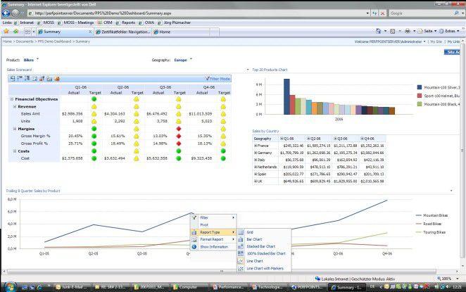PerfomancePoint Server bietet mit dem Dashboard Manager eine Komponente, mit der sich Dashboards, Scorecards oder Berichte erstellen und verwalten lassen.