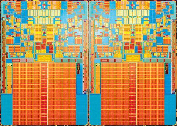 Ein Die eines in 45-nm-Technik gefertigten Penryn-Prozessors mit vier Kernen.