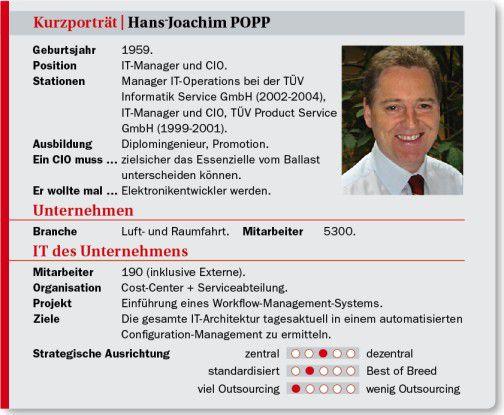 Hans-Joachim Popp, CIO vom DLR, auf einen Blick: Stationen, Projekte, Ansichten.