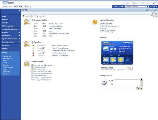 In einem komplett neuen Design präsentiert sich SAP CRM 2007. Wie andere Hersteller auch haben die Walldorfer das Frontend an Web-2.0-Anwendungen angelehnt.
