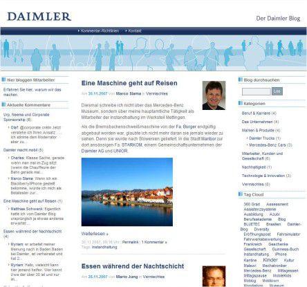 Daimler-Benz-Mitarbeiter lassen sich im Daimler-Blog über die Schultern gucken.