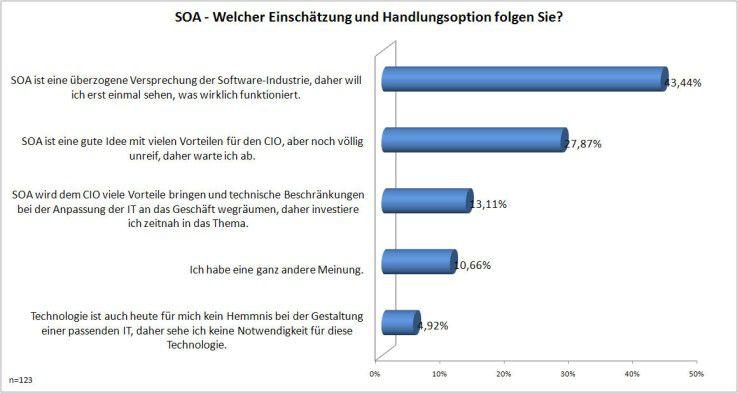 """SOA und andere Trendthemen halten die CIOs noch für """"unreif"""" und für überzogen diskutiert."""