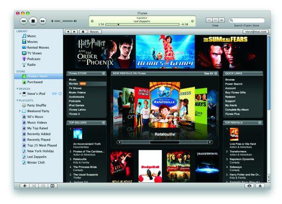 Im US-Store von iTunes kann man jetzt auch Filme mieten.