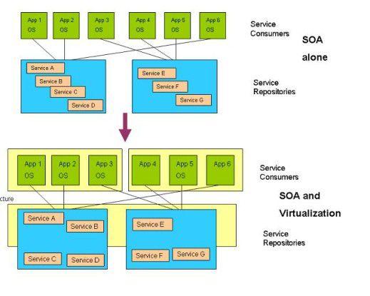 Aufbau einer virtualisierten SOA-Umgebung auf Applikationsebene.