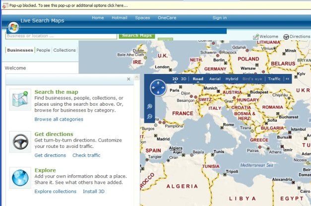 """Microsofts eigene Website """"Live Maps"""" ist derzeit ein Fall für den IE7-Emulationsmodus. Für eine korrekte Anzeige im IE8 bedarf sie größerer Konformität mit W3C-Standards."""