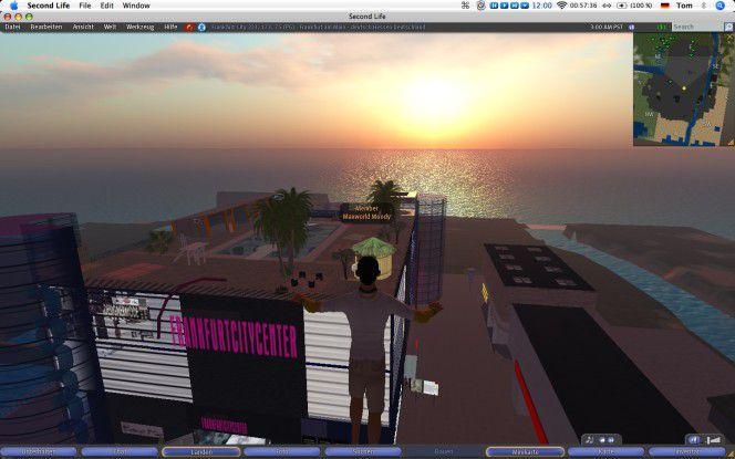 Da war die Welt noch in Ordnung: Sonnenaufgang über Frankfurt. Allerdings lag die Mainmetropole in Second Life geografisch nicht ganz korrekt am Meer.