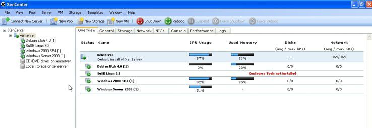 Xen unterstützt eine breite Auswahl an Gastsystemen. Das XenCenter bietet dazu alle notwendigen Funktionen an einem zentralen Platz.