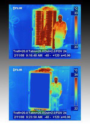 Mit der optionalen Kühltür lässt sich iDataPlex bei Raumtemperatur betreiben.