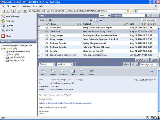 Über den Web-Client von Open-Xchange sind neben der E-Mail, Termin- und Kontaktverwaltung auch weitergehende Funktionen wie Dokumentenaustausch, Aufgaben- und Projektsteuerung verfügbar.