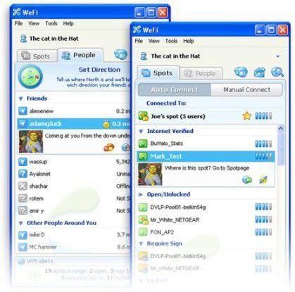 Ein Chat im WLAN gefällig? Mit dem auffällig an Skype errinnernden We-Fi-Fenster kein Problem.