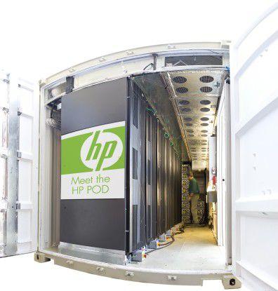 Im POD von HP stehen die Server nur auf einer Seite des Containers.