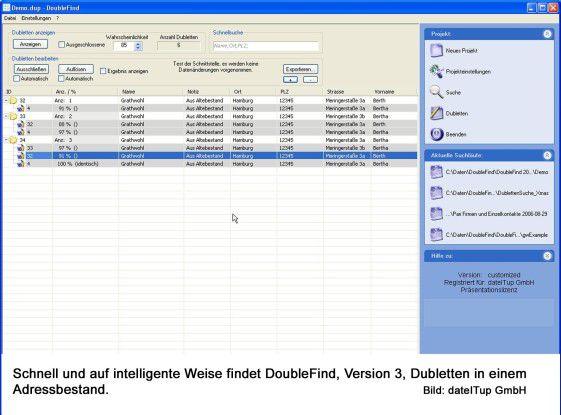 Doublefind findet Dubletten in Datenbanken und CRM-Software, sofern dafür ein Plug-in zur Verfügung steht.
