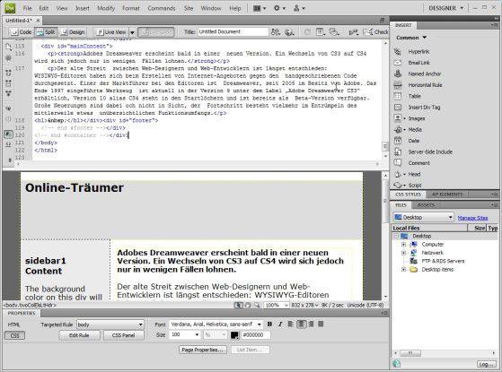 Mit Dreamweaver CS4 runderneuert Adobe die Benutzeroberfläche.