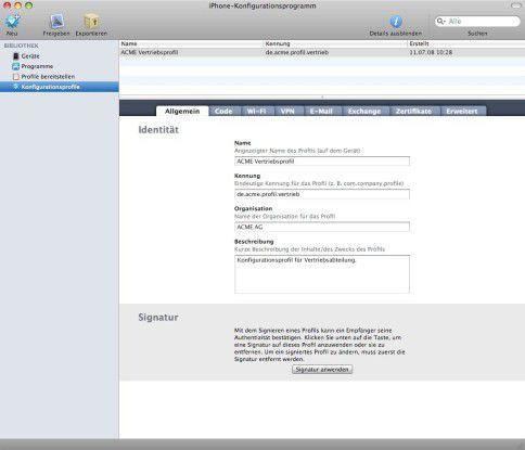 Erleichtert den Einsatz in Unternehmen: Das iPhone-Konfigurationsprogramm.