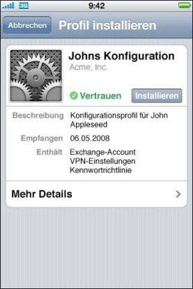 Mit dem iPhone-Konfigurationsprogramm erleichterte Apple für Firmen den Rollout.